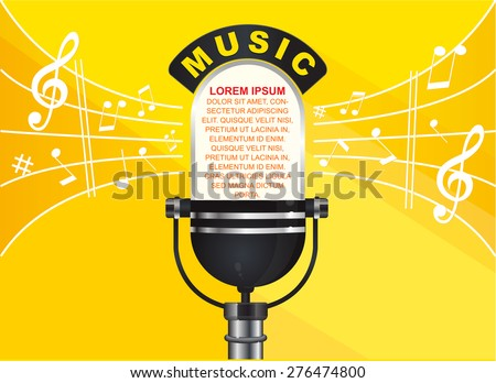Music and note background (Microphone) - stock vector