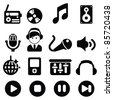 Music and sound icons-Silhouettes - stock vector