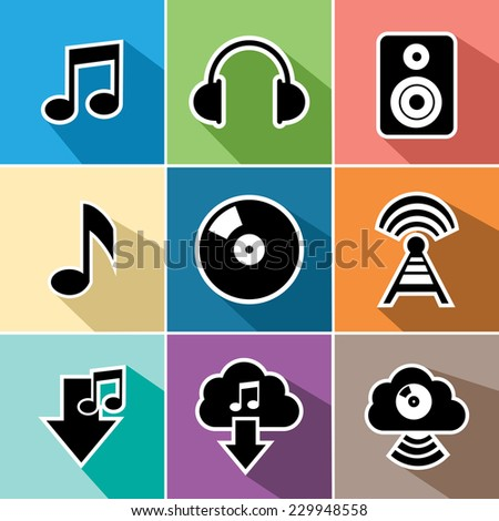 Music and sound set of flat icons design. Useful for website and mobile app. EPS10 vector file organized in layers for easy editing. - stock vector