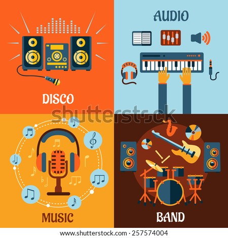 Music, audio, disco, band flat icons with music instruments, microphone and headphone surrounded notes, recording studio equipment and stereo system with sound waves - stock vector