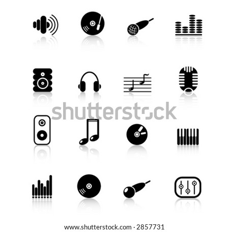 Music & audio vector web icons - stock vector