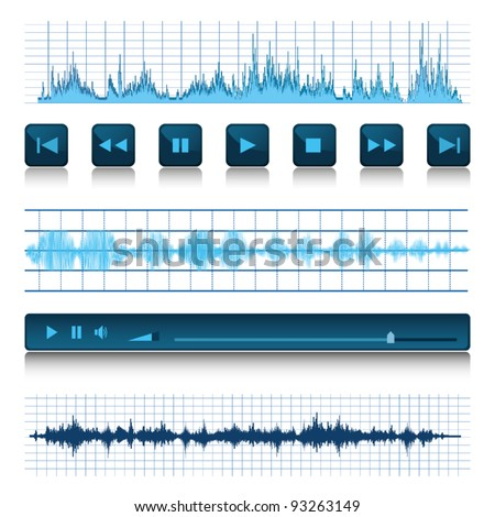 Music background. Buttons and sound waves. - stock vector
