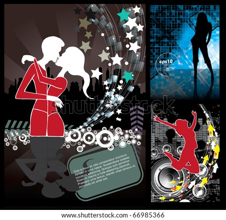 Music background set - stock vector
