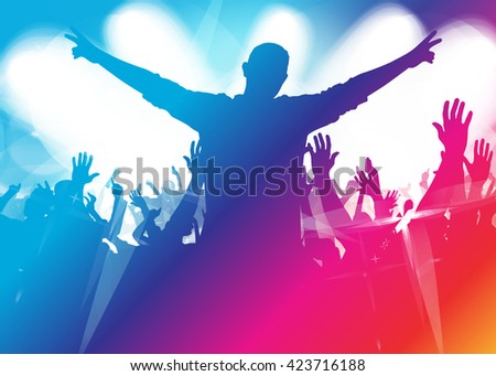 Music background with dancing people - stock vector