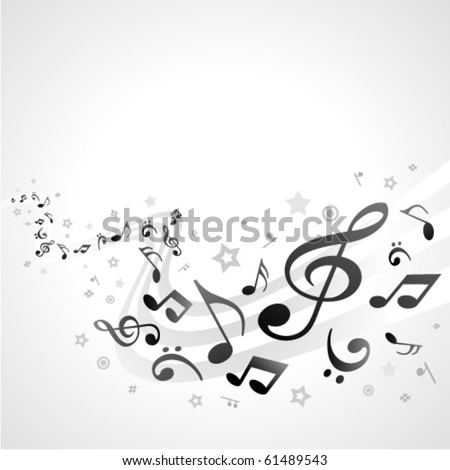 Music background with fly black notes. Eps 10 - stock vector