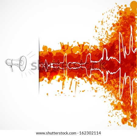 Music background with loudspeaker and oscillation on orange grunge splashes. Vector illustration. - stock vector