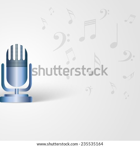 Music background with microphone shape and musical notes - stock vector