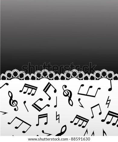 music background with note and lace - stock vector