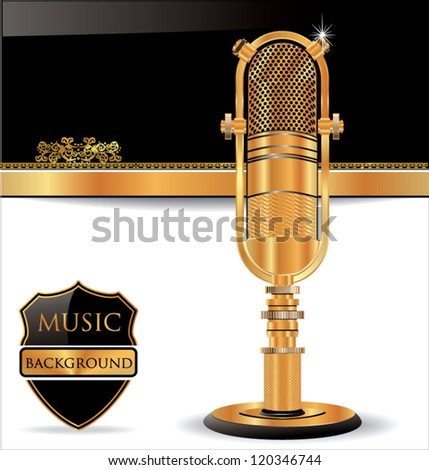 Music background with old golden microphone - stock vector