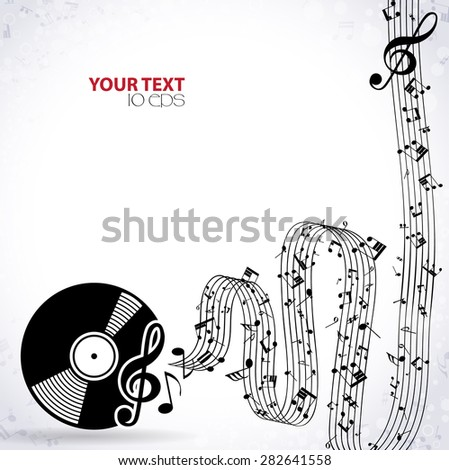 Music background with plate - stock vector