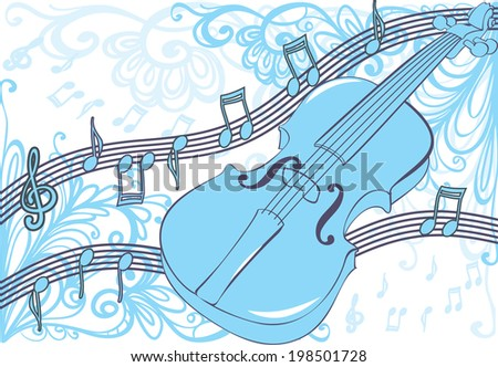 Music background with random notes - stock vector