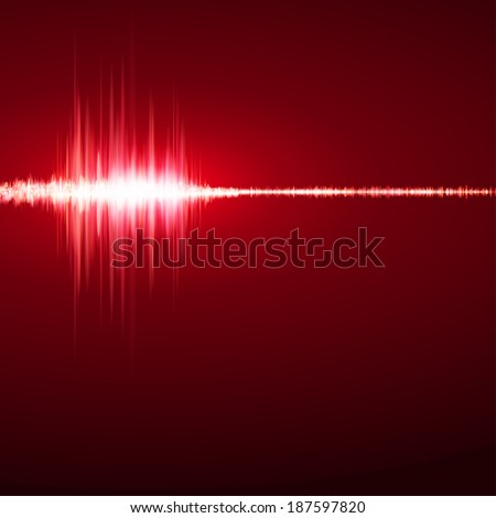 Music background with red equalizer. Vector illustration - stock vector