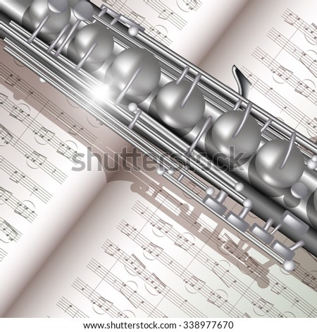 Music background with saxophone and notes. Vector illustration - stock vector