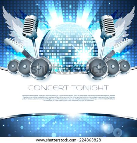 Music Background with speakers, microphone and disco-ball - Vector with place for your text - stock vector