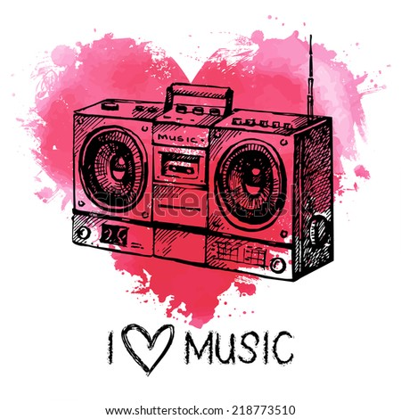 Music background with splash watercolor heart and sketch. Hand drawn vector illustration - stock vector