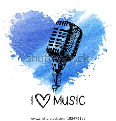Music background with splash watercolor heart and sketch microphone. Hand drawn illustration - stock vector