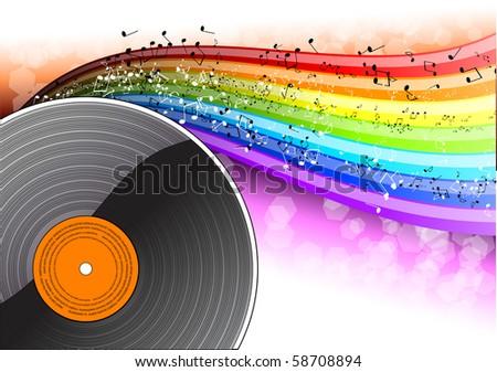 Music background with vinyl desk - stock vector