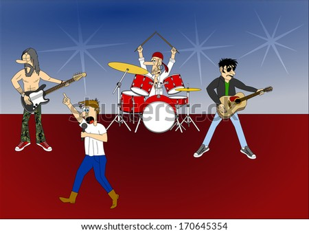 Music band - guitarist, drummer, bassist, singer, cartoon, comic design, hand drawn, vector art image illustration, eps10 - stock vector