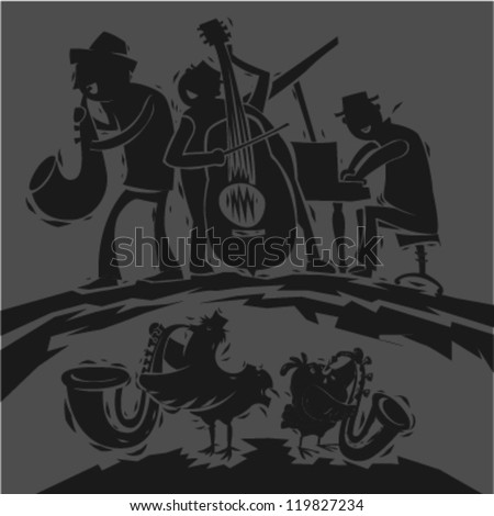 Music band illustration with funny characters - stock vector