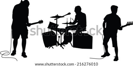 music band silhouette vector - stock vector