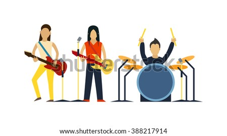 Music band with instruments vector illustration. Band of musicians with instruments. Music band with guitar, drum set vector. Music band sound group. Music band modern people.Music band people - stock vector