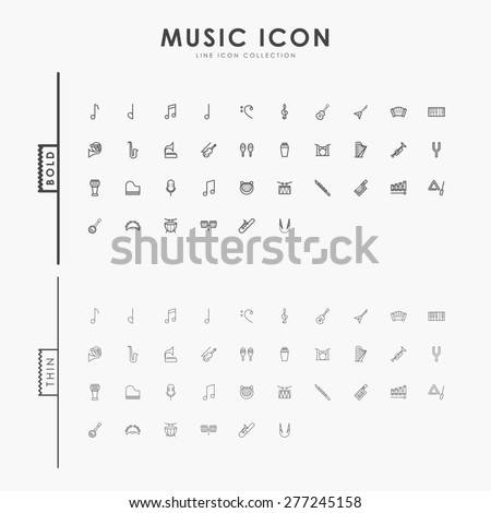 music bold and thin line icons - stock vector