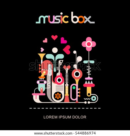 Music Box vector illustration isolated on a black background. Decorative text architecture. Abstract art design with musical instruments, flyer template.