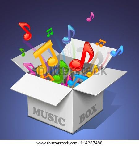 music box - white - stock vector