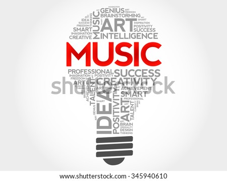 Music bulb word cloud concept - stock vector
