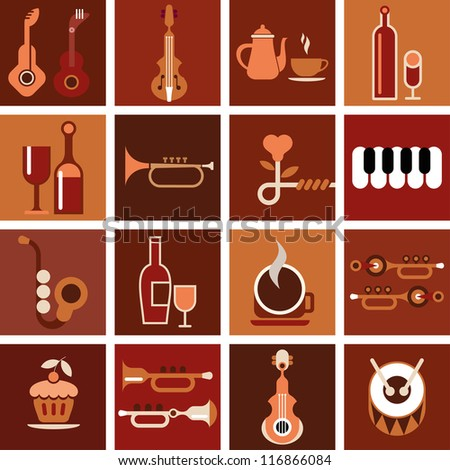 Music cafe. Abstract musical background. - stock vector