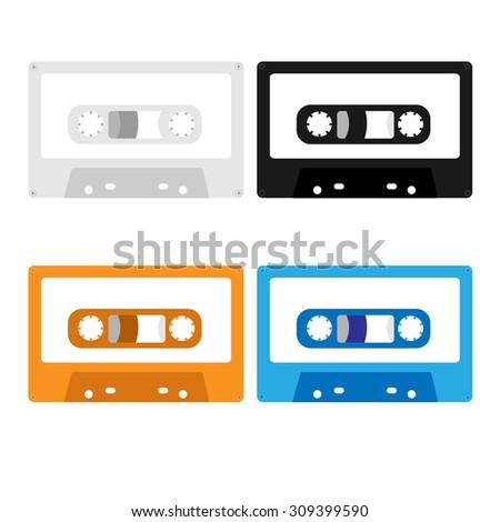 music casette, cassette tape. vector illustration - stock vector
