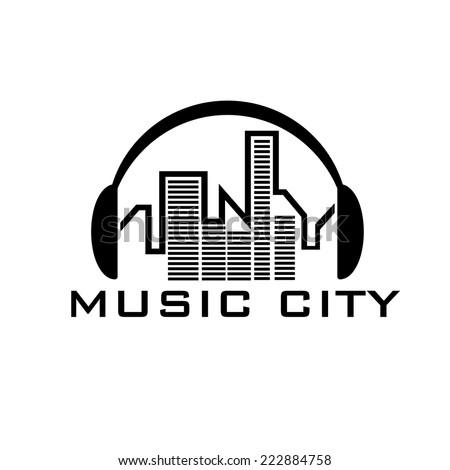 music city concept vector design template - stock vector