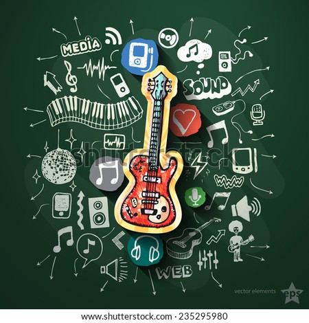 Music collage with icons on blackboard. Vector illustration - stock vector