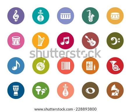 Music Color Icons - stock vector
