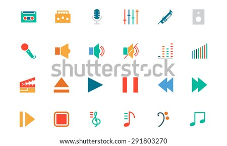 Music Colored Vector Icons - stock vector