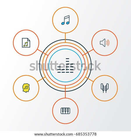 Music Outline Icons Set Collection Musical Stock Vector 690181102