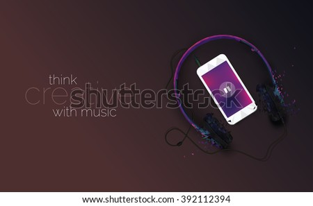 Music Concept Illustration with Mobile Phone & Headphone - Music Conceptual Illustration - stock vector