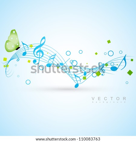 music concept vector design with butterfly