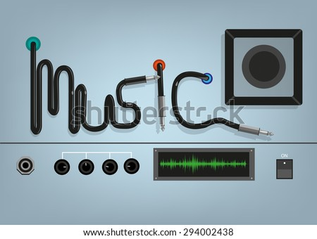 Music Concept. Wires form the word music with device wires, dials and plugs. Editable Clip art. - stock vector