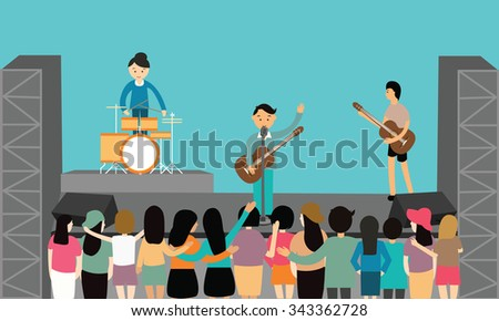 music concert performance flat vectoro - stock vector