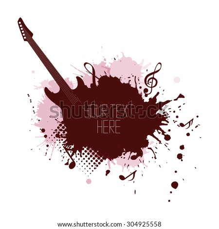 Music cover with splashes, notes and guitar  for your business - stock vector