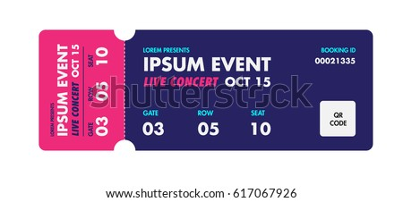 Music, Dance, Live Concert Entrance Vector Tickets Templates. Ticket For  Entrance To The  Play Ticket Template