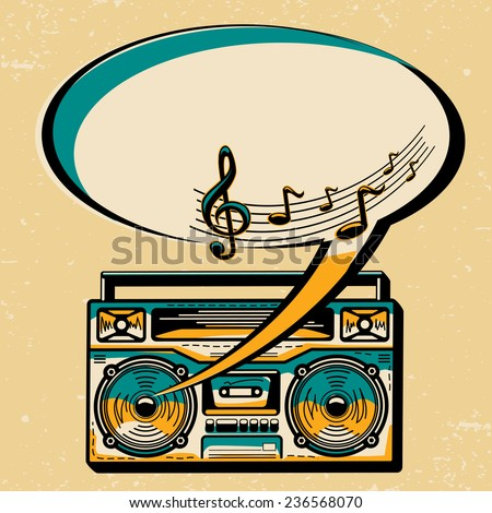 Music design - boom box & speech bubble - stock vector