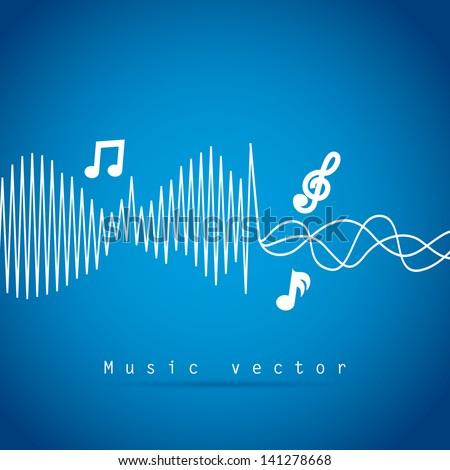 music  design over blue background vector illustration - stock vector