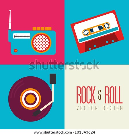 music design over colorful background vector illustration - stock vector
