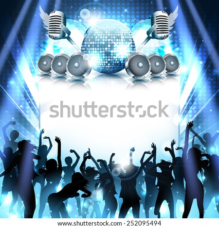 Music Disco background with dancing silhouettes and instruments - vector - stock vector