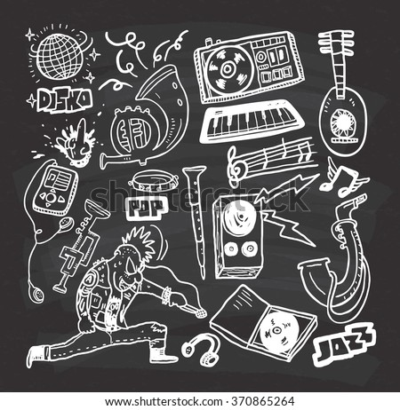 music doodle on chalkboard background - stock vector