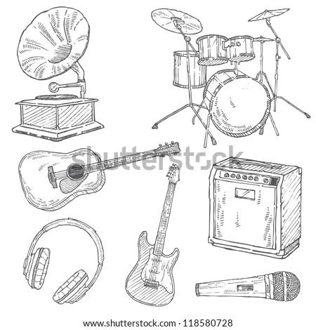 Music Doodle Vector Set - stock vector