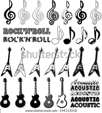 Music elements in different styles - guitars, notes and words: rock'n'roll and acoustic. - stock vector