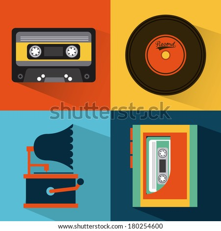 Music elements with flat design, Vector illustration - stock vector